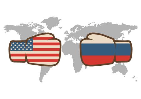Conflicto entre Estados Unidos y Rusia, puños masculinos - concepto de conflicto de gobiernos