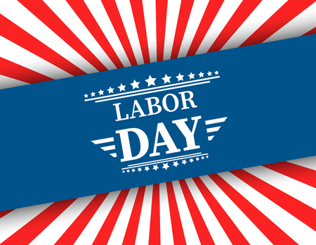 Waving American flag with typography Labor Day, September 7th, United state of America, American Labor day design. Beautiful USA flag Composition. Labor Day poster design 向量圖像