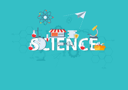 Thin line flat design banner for SCIENCE web page, classical and on-line education, increasing knowledge, choice of universities. Vector illustration concept for website and mobile website banners Illustration