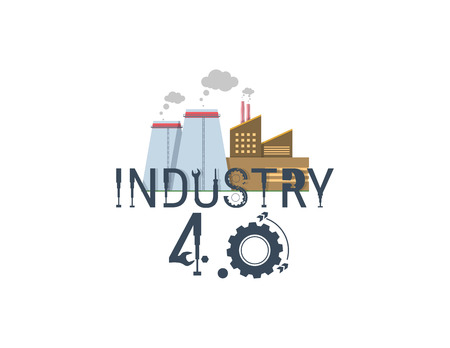 New Industrial Revolution. Industry 4 banner: smart industrial revolution, automation, robot assistants, iot cloud and bigdata