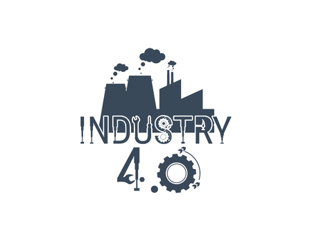 New Industrial Revolution. Industry 4 banner: smart industrial revolution, automation, robot assistants, iot cloud and bigdata Ilustração Vetorial