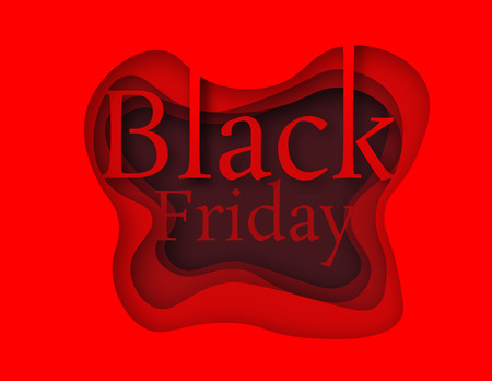 Black Friday in paper style is red. Hot Sale