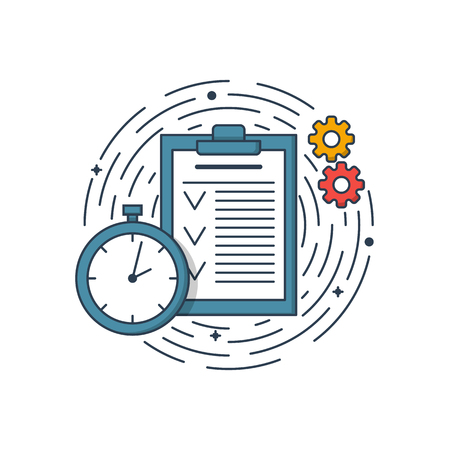 Vector business illustration of blue colors folder page, clock and engineering. Graphic design concept of product managment. Use in Web Project and app. Outline object Ilustração