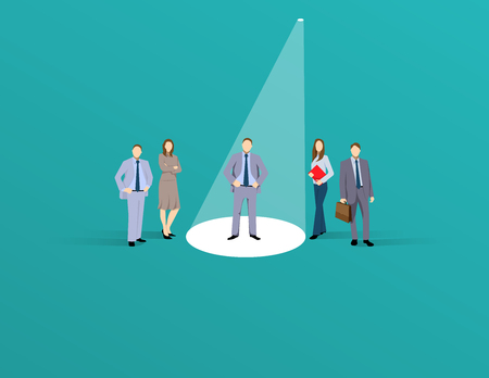 Business recruitment or hiring vector concept. Looking for talent. Business man standing in spotlight or searchlight looking for new career opportunities. Eps10 vector illustration