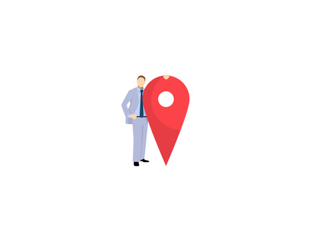 Business man is standing close to big map pointer. Our office location. Vector illustration