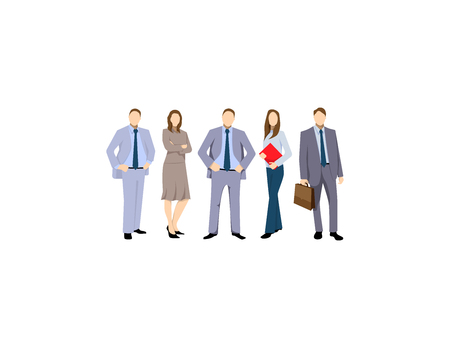 Group of business men and women, working people on white background. Business team and teamwork concept. Group of Business People Isolated Vector Illustration