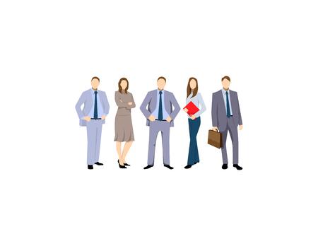 Grupo de hombres y mujeres de negocios, gente trabajadora sobre fondo blanco. Equipo de negocios y concepto de trabajo en equipo. Grupo de empresarios aislados Ilustración de vector