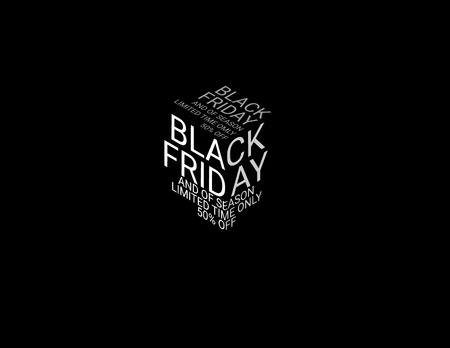 Typography on the topic. Black Friday and of season limited time only 50