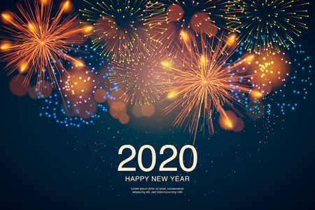 The year 2020 displayed with fireworks and strobes. New year and holidays concept