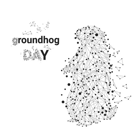 Happy Groundhog Day design with cute groundhog on a white background