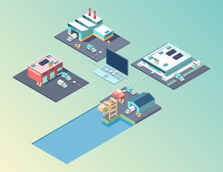 Public city transport isometric city buildings with images of different municipal and private buildings
