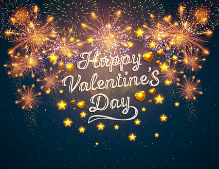 Happy Valentine's Day displayed with fireworks. Vector illustration. Wallpaper, flyers, invitation, posters, brochure banners