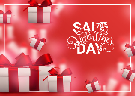 Valentine's day sale background with gift boxes and red ribbons. Romantic design for flyer, card, invitation, poster, banner. Discount, shop promotion template. - Vector