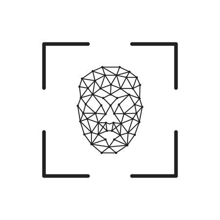 Square facial recognition identification scan line art vector icon for apps and websites - Vector illustration Foto de archivo - 118971155