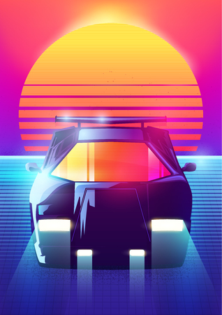 80s Retro Sci-Fi Background. Vector retro futuristic synth retro wave illustration in 1980s posters style. Suitable for any print design in 80s style. - Vector illustration