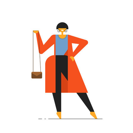 Woman in suit. International Womens Day. Yoga. Spor - Vector illustration Çizim