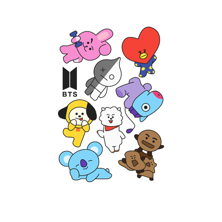 BTS - South Korean boy band. Print for t-shirts.