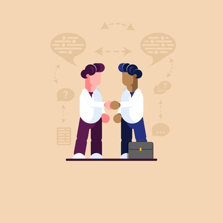 Meeting two businessmen, white-skinned and dark-skinned. Modern vector illustration. - Vector illustration