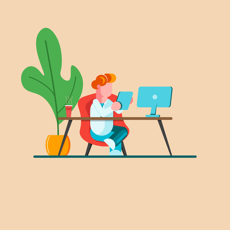 Young man is sitting at a desk with computer and with a phone. Office business concept. Modern vector illustration. - Vector illustration