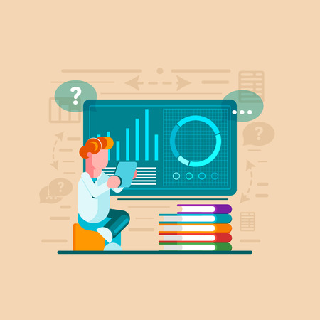 Man is engaged in online learning. Man is engaged in analytics. Holding a tablet. Modern vector illustration. - Vector illustration
