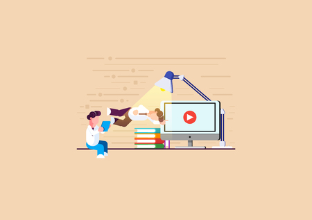 Men is engaged in online learning. Men is engaged in analytics. Holding a tablet. Modern vector illustration. - Vector illustration Ilustrace