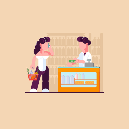 Grocery store. Woman shopping in store. Business concept. Modern vector illustration. - Vector illustration Illustration