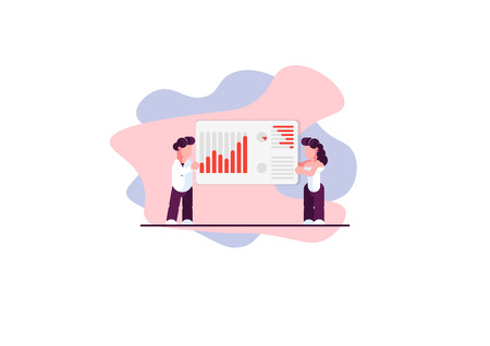 Male and female business analysts. Finance trade. Chart. Modern vector illustration. - Vector illustration