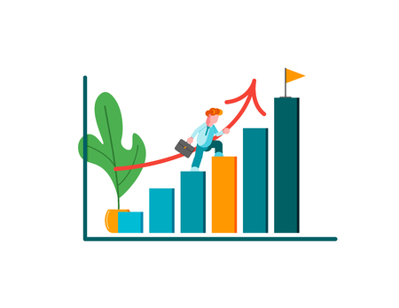 Man runing to their goal on the column of columns, move up motivation, the path to the target's achievement. Modern vector illustration. - Vector illustration Illustration