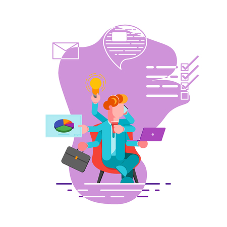 Office worker with many hands doing several actions at the same time. Multitasking, productivity and time management concept. Modern vector illustration. - Vector illustration Foto de archivo - 124484172