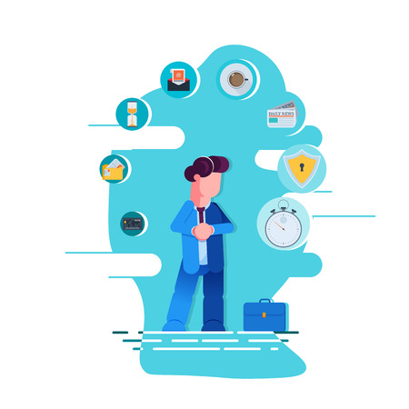 Business dilemma. Businessman looking at the rotating business icons. Concept business vector illustration - Vector illustration