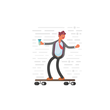 Businessman on a skateboard. Winner concept illustration. Businessman has achieved success.. 向量圖像