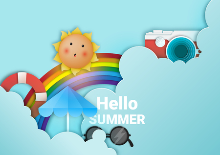 Hello summer with cute sunny and paper art sky background and pastel color scheme vector illustration.