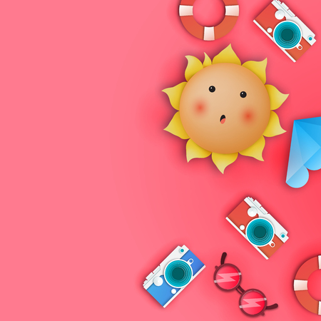 Pink copy space summer. Copy space on the summer theme. Vector illustration