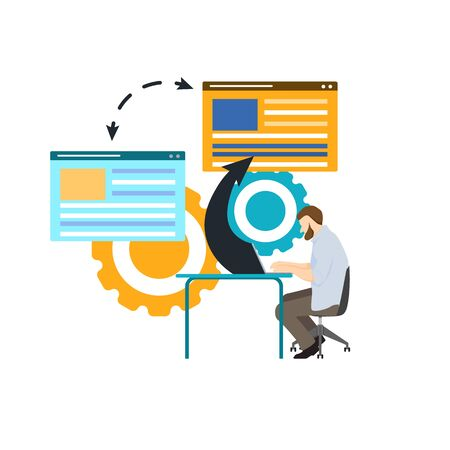 vector illustration of business, office workers are studying the infographic, the analysis of the evolutionary scale - Vector illustration
