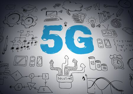 5G network or mobile speed as broadband concept with icons. - Vector illustration Ilustração
