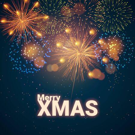 Merry XMAS. Holiday Vector Illustration. Bright inscription with fireworks - Vector illustration Vector Illustration