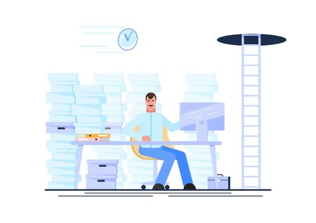 Businessman working at his workplace during working hours with a pile of paper document around. Procrastination and waste time concept. Vector illustration