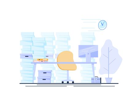 Empty business mans office with a pile of documents. Vector illustration