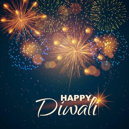 Website header or banner design on the background of lights and fireworks for Diwali Festival celebration. - Vector illustration