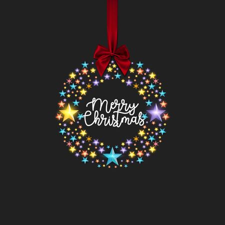 Merry Christmas and Happy New Year to everybody. Image of multi-colored stars in a circle with text inside. With a red bow on the ribbon at the top. - Vector illustration