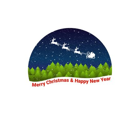Santa Claus rides in a sleigh to wish Merry Christmas and Happy New Year. Santa Claus on the background of the forest. - Vector illustration