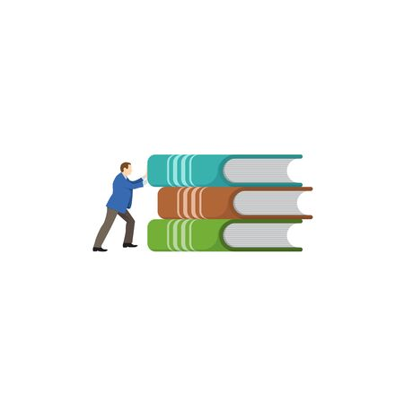 Distance education, online courses and business, education, online books and study guides, exam preparation, home schooling, it s hard for a person to hold science in his hands - Vector illustration