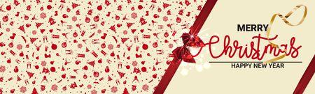クリスマスの休日のカードのためにモックアップ。リボンは弓でバナーを結びました。- ベクトルのイラスト