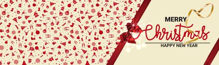 Mock up for Christmas holiday cards. Ribbon tied banner with bow. - Vector illustration
