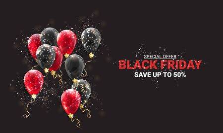 Black friday sale background with black and red balloons and flying golden serpentine. Modern design.Universal vector background for poster, banners, flyers, card. - Vector illustration
