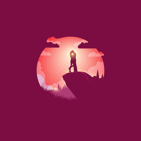 Valentine's Day second in love at dawn. Lovers on the hill. - Vector illustration Illustration