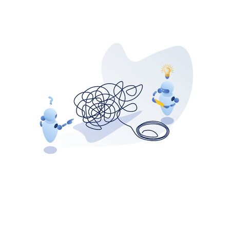 Isometric, tangle tangled and unraveled. abstract metaphor, business problem solving concept Çizim