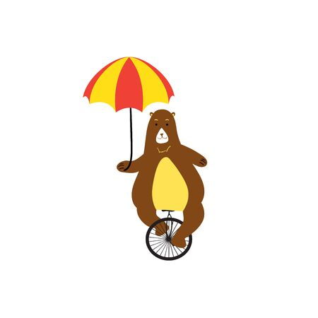 Cute bear with bicycle.Circus show illustration.Animal print - Vector illustration