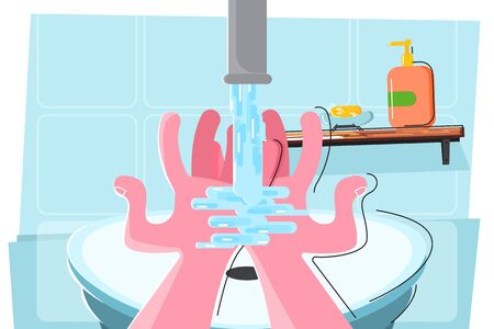 Fight and infections. To wash hands. Disinfection and fight against viruses. Healthy lifestyle. - Vector illustration Illustration