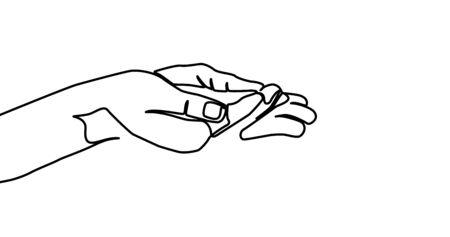 Social assistance, man holds his hands. - Vector illustration